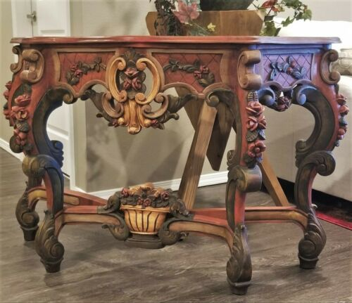 ANTIQUE 18thC FRENCH ITALIAN ROCOCO PAINTED CONSOLE TABLE HEAVILY CARVED w ROSES