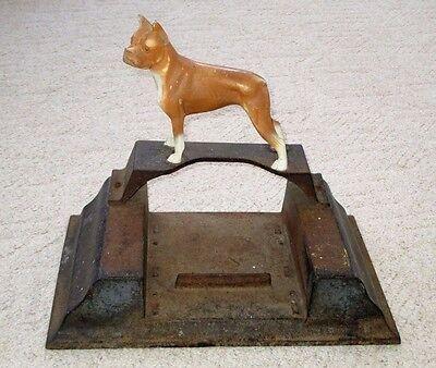 """VINTAGE CAST IRON BOOT SCRAPER-BOXER DOG STATUE ON TOP-HUBLEY-??-DOORSTOP-18.5"""""""