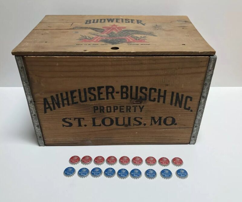 Vintage ANHEUSER BUSCH Budweiser Beer Wood Checkers Box Crate Case w/ Lid Wooden