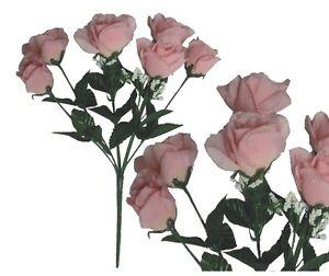 Bulk silk flowers ebay lot of 144 pink poly silk sm open roses wedding home decor craft flower leaf mightylinksfo