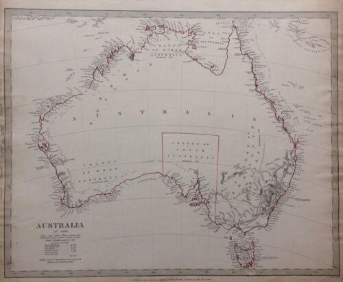 Australia in 1839 Original 1840 SDUK Map with unexplored interiors, Tasmania