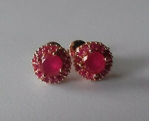 C05 Plum 18ct rose gold gf 1cm round DEEP PINK RUBY CLUSTER stud earrings GFTBXD