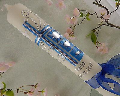 Taufkerze Kommunionkerze Kreuz modern blau silber Taufsymbole für Junge Mädchen