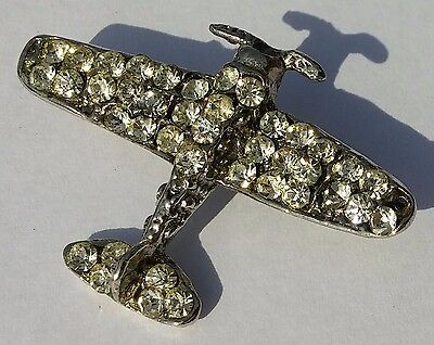 Vintage Airplane Pin Brooch Clear Rhinestones Silver Tone