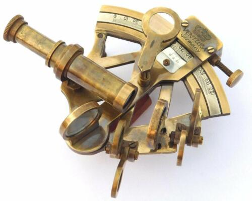 Antique Solid Brass Sextant Vintage Collectible Marine Astrolabe Gift.