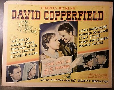 David Copperfield title lobby card (TC) tale. 1935 MGM from Dickens classic tale