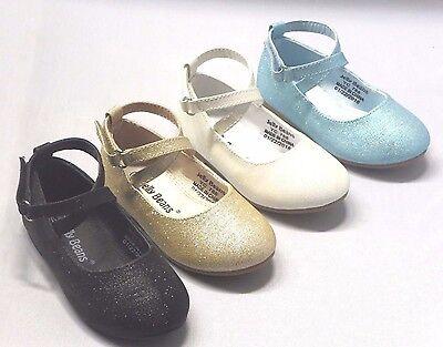 Girl Flats (Macy) Kid Flower Girl Pageant Dress Shoes White Gold Blue - Flower Girl Shoes White Flats