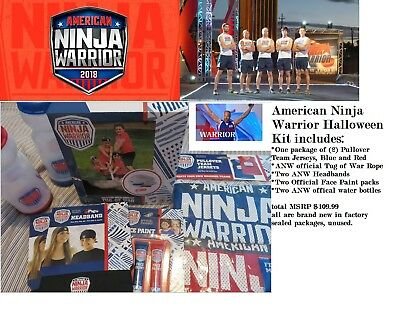 American Ninja Warrior Boy's Costume for two Tug of War rope and Jersey+headband