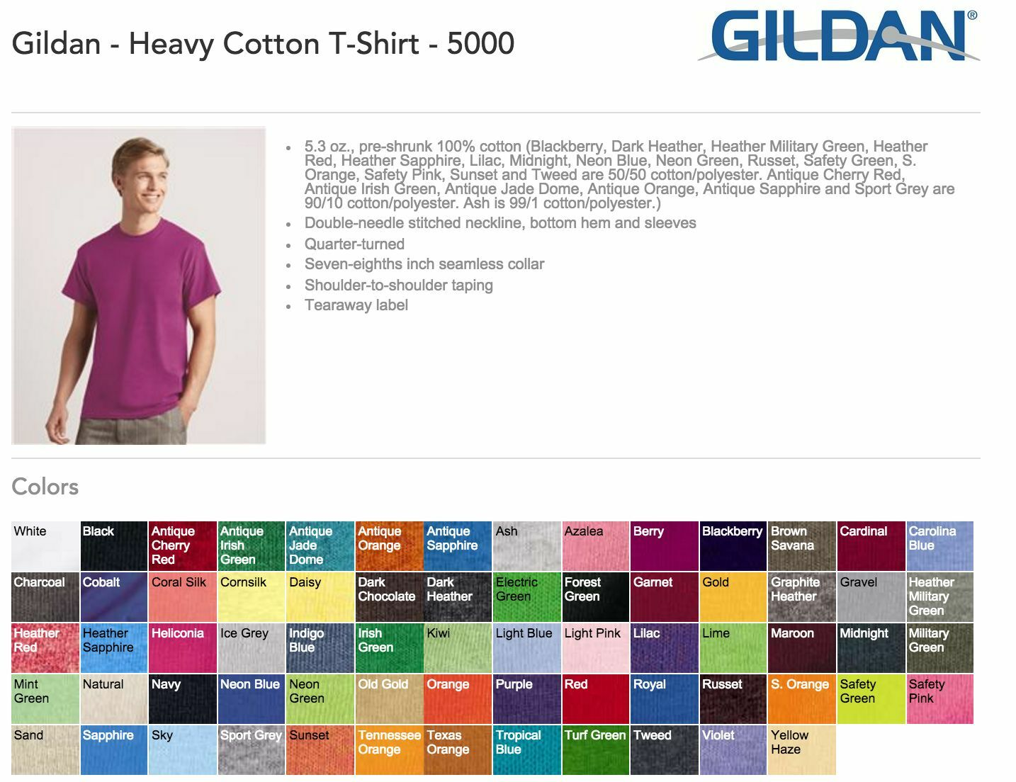 100 Blank Gildan Heavy Cotton TShirt Wholesale Bulk Lot ok to mix SXL  Colors