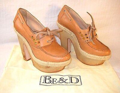 Anthropologie Be & D Womens Platform Boat Shoes Size 8 38 Camel Beige Spiked