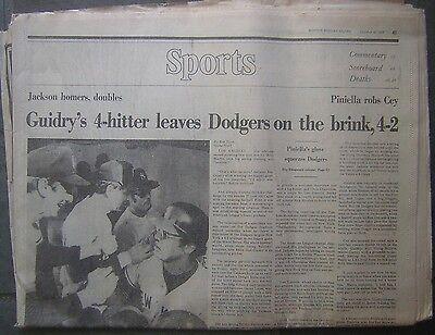 Oct  16  1977 Boston Globe Sports   Guidrys 4 Hitter Vs  Dodgers In W S
