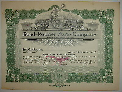 Road-Runner Auto Company Stock Certificate California