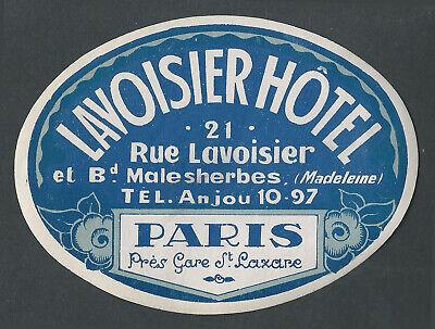 Lavoisier Hotel PARIS France - vintage luggage label