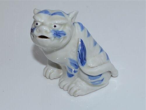 Antique Japanese Hirado Blue and White Porcelain Tiger Okimono