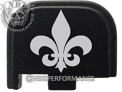 for Glock 42 ONLY Rear Slide Cover Plate .380 Cal G42 Black Fleur de Lis Solid