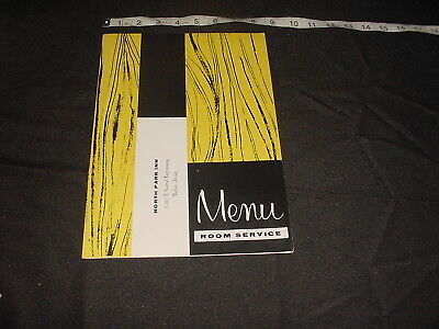 Vintage MENU  room service North Park Inn Dallas Texas