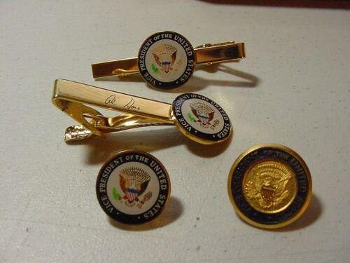 LOT 4 VICE Presidential AL GORE  2 Lapel Pin & 2 TIE CLIP -DIECAST & COLOR SEAL