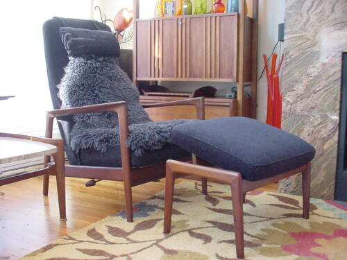 Folke Ohlsson for Dux Reclining Lounge Chair & Ottoman - Vintage Mid Century