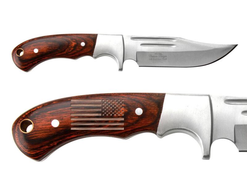 Elk Ridge Knife Hunting Fixed Blade Full Tang Wood ER-052 US Battle Flag