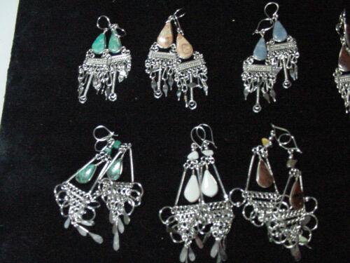 Lot 10 pairs EARRINGS, ALPACA SILVER and SEMIPRECIOUS STONES, Peruvian Jewelry