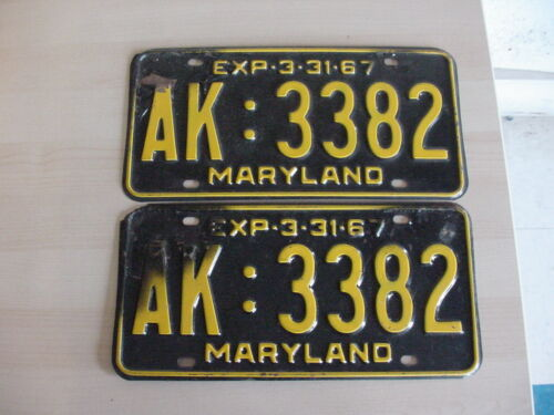 1967 Maryland License Plate #  AK 3382  - Pair