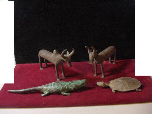 Vintage Lot of 4 Assorted African Bronze Baule statue buffalo, turtle, alligator