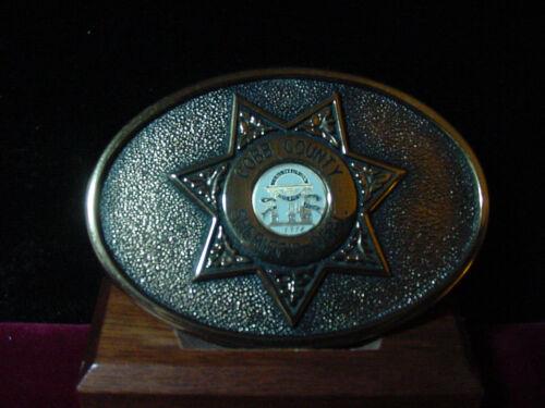 RARE VINTAGE COBB COUNTY SHERIFF DEPT BRASS BELT BUCKLE