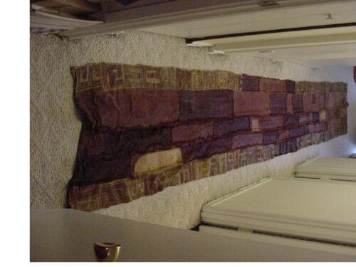 "Vintage handmade African art Kuba cloth 186""x27"" fabric Zaire Congo(DRC)Tapestry"
