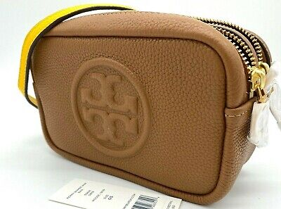 Auth NWT Tory Burch Perry Bombe Mini Pebbled Leather CrossBody Bag In Moose