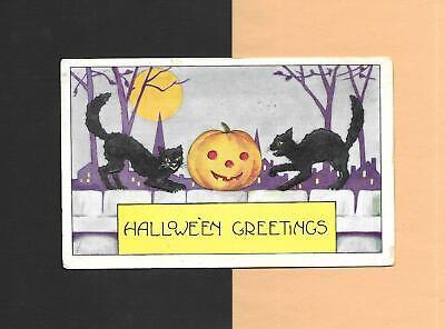 Cute Halloween Postcards (Cute BLACK CATS, JOLs On Colorful Spooky Vintage 1921 HALLOWEEN)