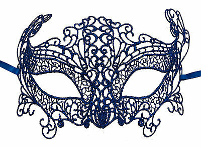 Mask from Venice Wolf Civet Carnival Venetian in Lace Burano Blue 606
