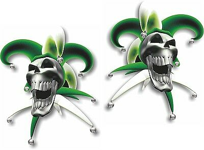 Vinyl sticker/decal Extra small 50mm jester laughing skull green - pair
