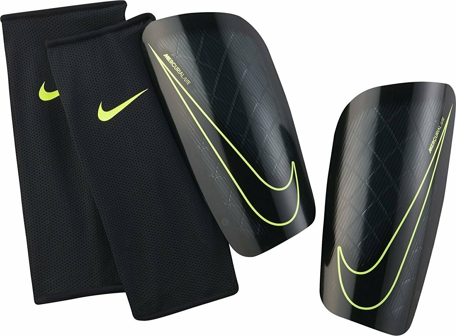Nike Mercurial Lite Soccer Shin Guards Black Volt Lime Green