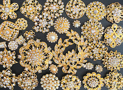 32 Lot Mixed Gold Rhinestone Crystal Button Brooch Pin Wedding Bouquet DIY Kit