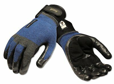 Ansell 97003m Activarmr Nitrile Coated Laborer Gloves Medium Blueblack
