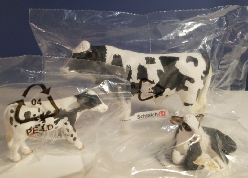 NEW RETIRED Schleich HOLSTEN Bull & 2 Calves, #13632, 13634, 13639
