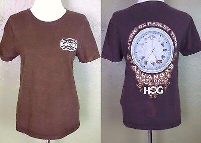 Harley Davidson Womens Size Small Tshirt Top Brown Arkansas Hog State Rally 2014