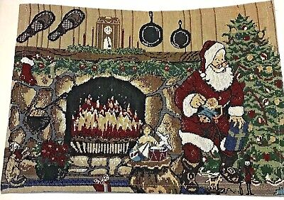 Set 4 Santa Fireplace Hearth Tapestry Placemats 13 x 18 in Snow Shoes Christmas Cotton Rectangular Fireplace