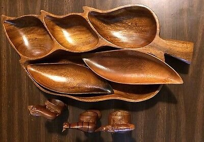 VTG/ANTIQUE CARVED WOOD LEAF TRAY / 2 BOWLS 3 ANIMAL NAPKIN  RINGS PHILIPPINES