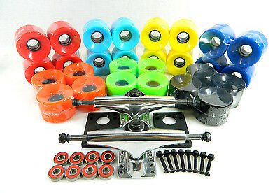 Turbo 5.0 Raw Skateboard Trucks + 60mm Cruiser Wheels + ABEC7 Bearings Riser Pad ()