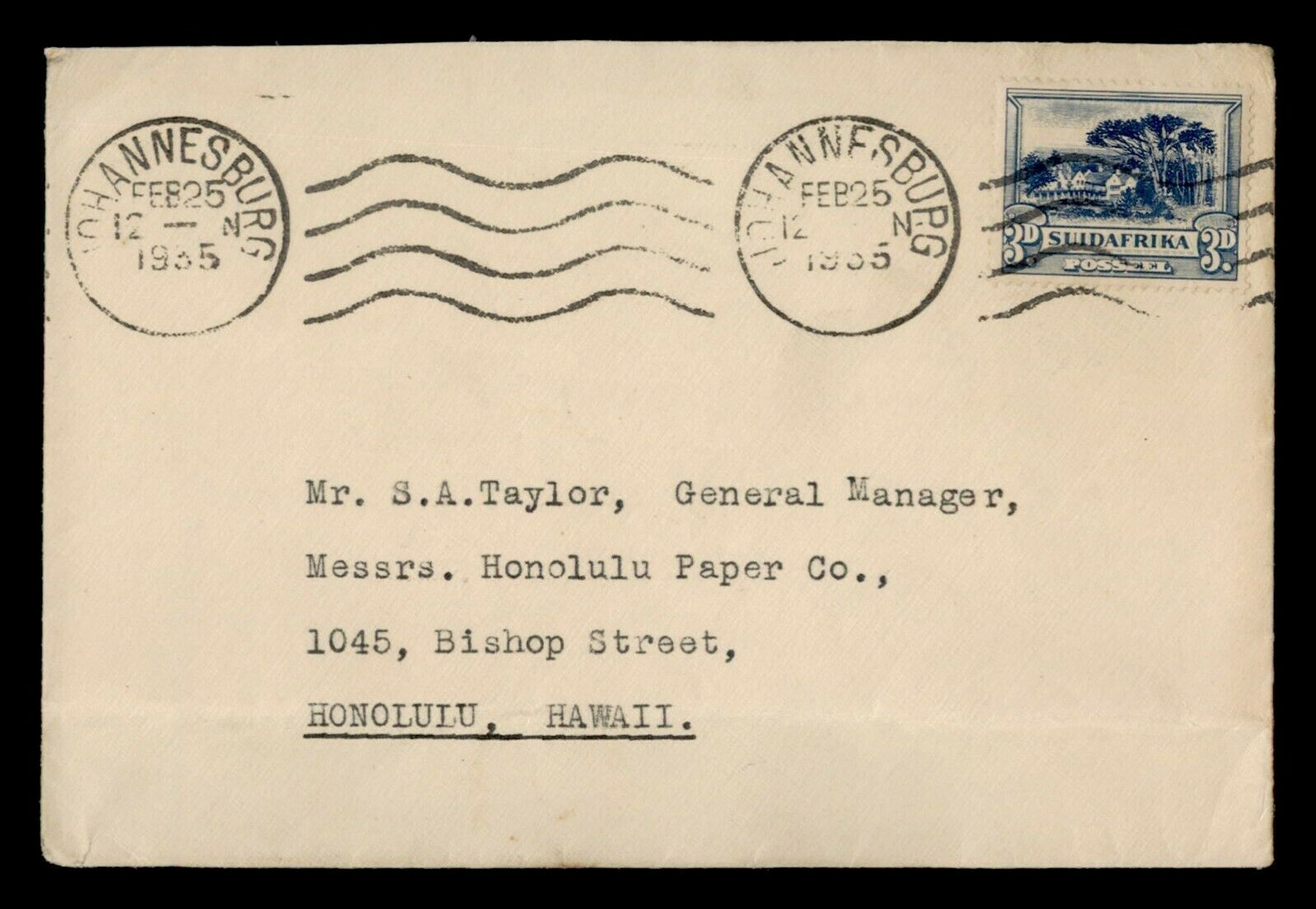 DR WHO 1935 SOUTH AFRICA JOHANNESBURG TO USA F81337 - $0.50