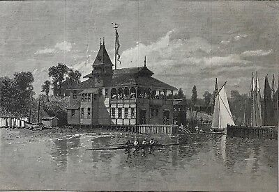 Alcyone Boat House. Bay Ridge. Long Island.  Wood Engraving, 1881. for sale  Shipping to Canada