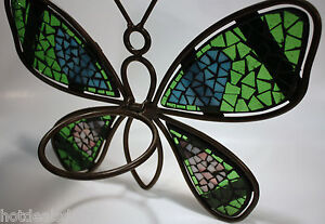 BEAUTIFUL-MOSAIC-GLASS-BUTTERFLY-CANDLE-OR-FLOWER-POT-HOLDER-WALL-MOUNT-METAL