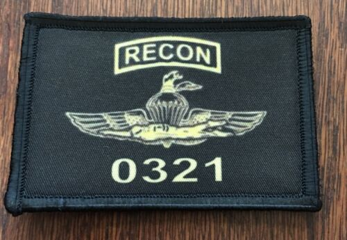 0321 Marine Recon Morale Patch Tactical Military Hook Badge Marines Chesty Oorah