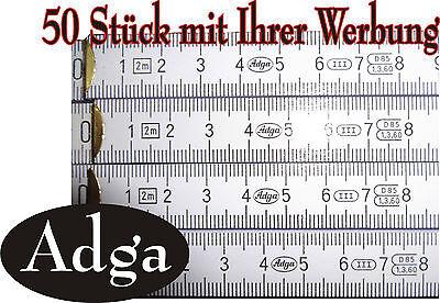 Zollstock 50 Stück 2m Adga inkl.einseitigem Druck, mit Ihrer Werbung,weiß 2  m