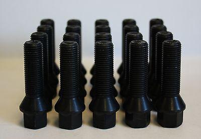 20 X M14 X 1.5 BLACK TAPERED 50MM WHEEL BOLTS FIT MERCEDES ML W163 W164 W166
