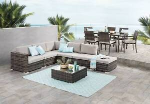 Outdoor lounge and dining table setting