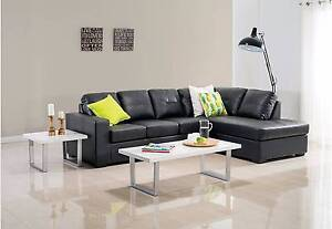 Diamond Leather-Look Corner Chaise with Sofa Bed - Near New Ipswich Ipswich City Preview