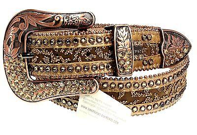 BB Simon Fashion Belt Beige Brown Swarovski Crystals Golden Shadow