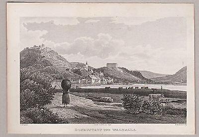Donaustauf u. Walhalla - Gesamtansicht. Stich, Stahlstich von Hotmann / Alt 1847